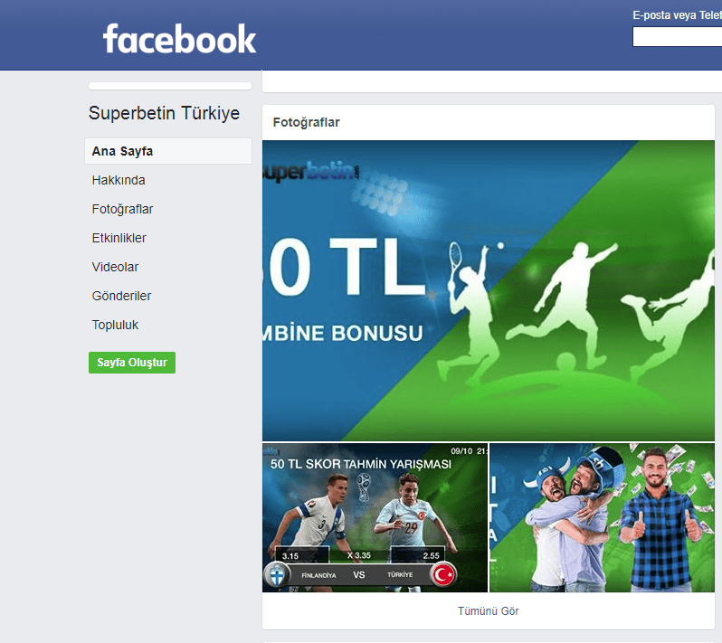 Superbetin Facebook