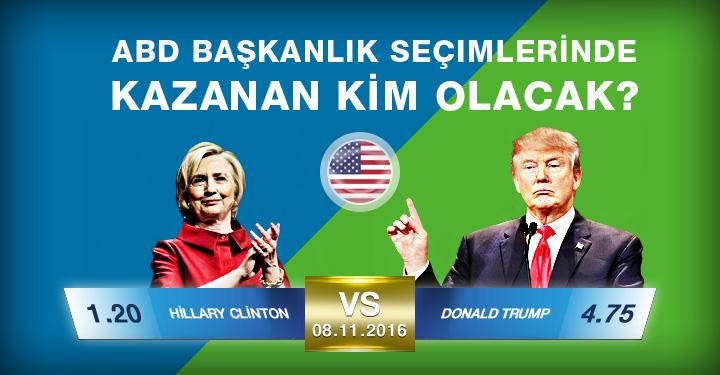 Superbetin Hillary Clinton vs Donald Trump abd secimleri bahis Oranlari